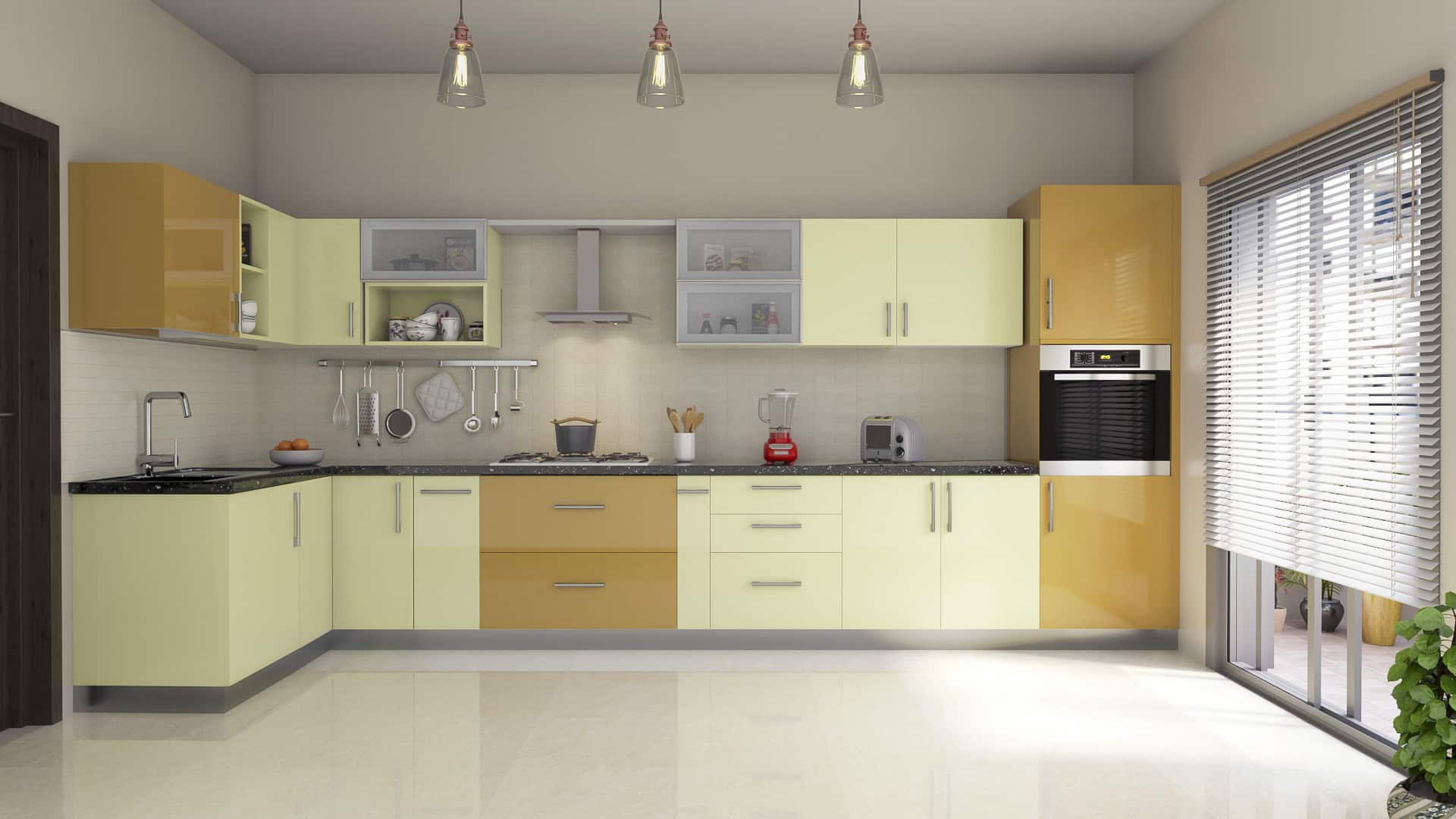 L shaped modular kitchen designs india homelane for L shaped kitchen design ideas india