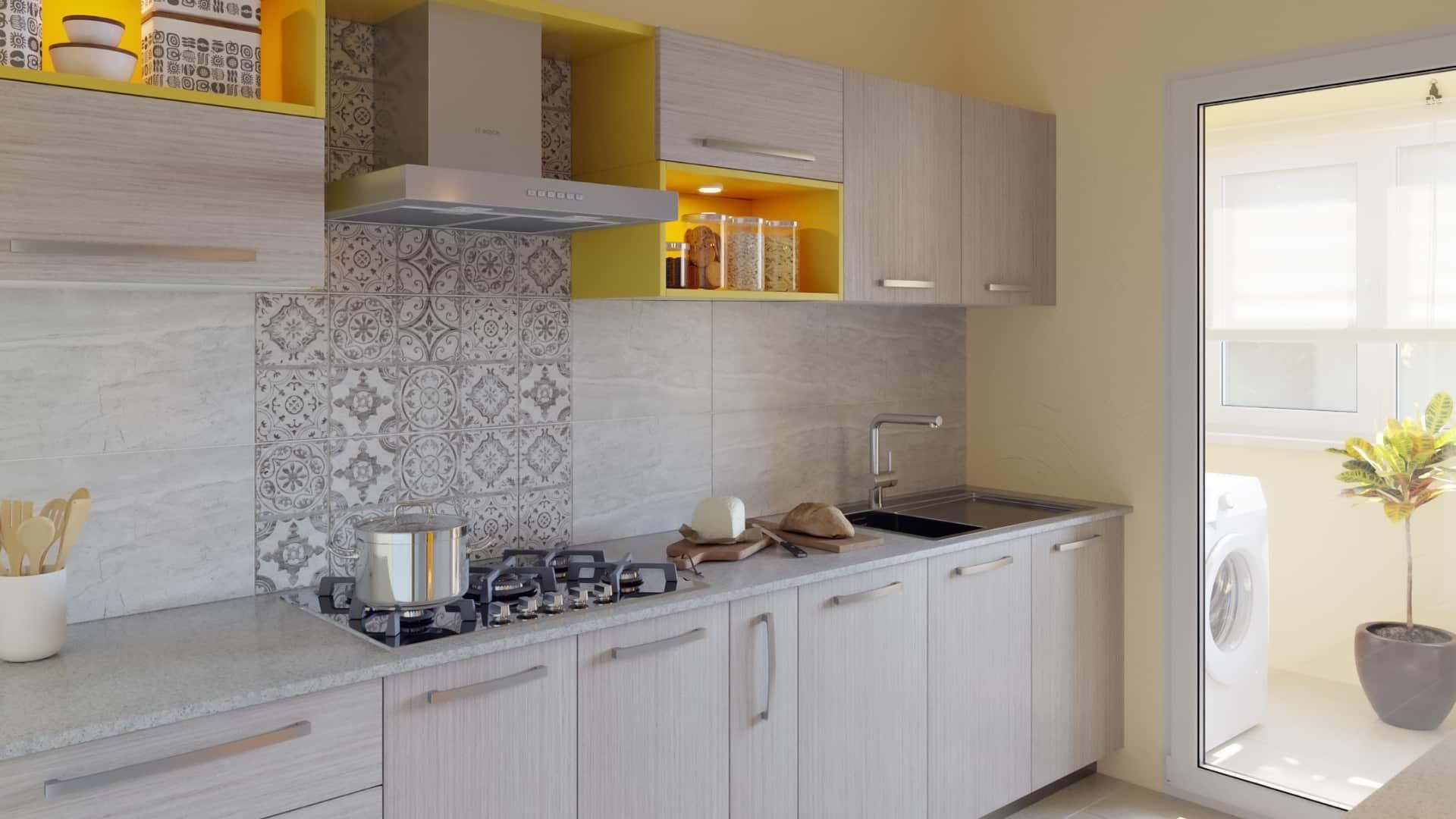 Grey Toned Marigold Pop Parallel Modular Kitchen India Homelane,High End Modern Interior Design