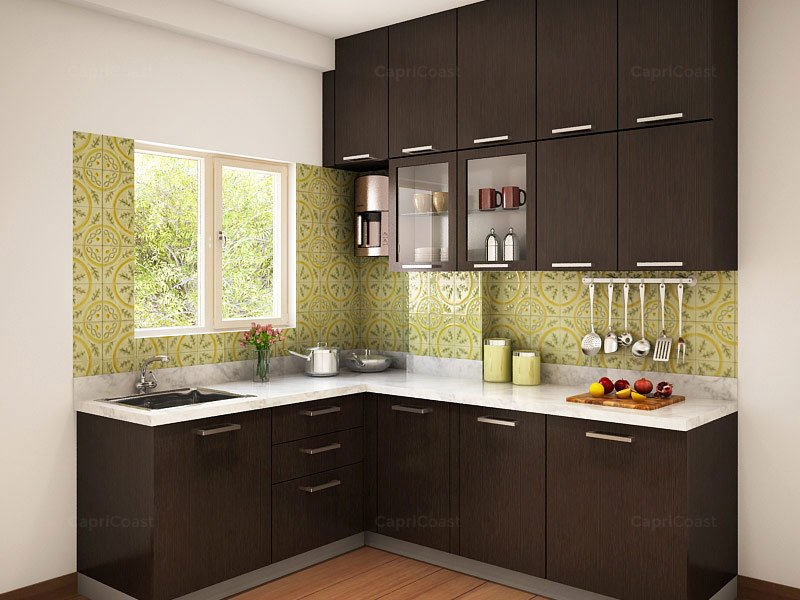 Munnar l shaped modular kitchen designs india homelane for L shaped kitchen design ideas india