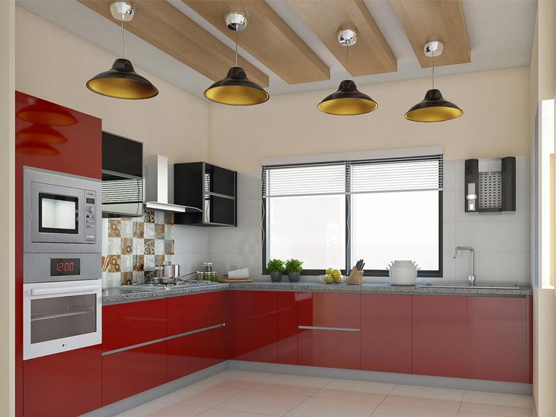 Red Velvet L Shaped Modular Kitchen Designs India Homelane