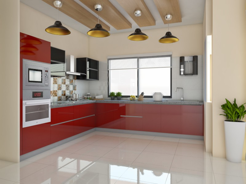 Red Velvet L-Shaped Modular Kitchen India | HomeLane