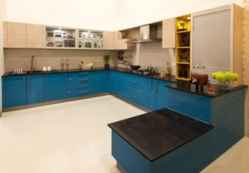 Sandy Shore U Shaped Modular Kitchen India Homelane