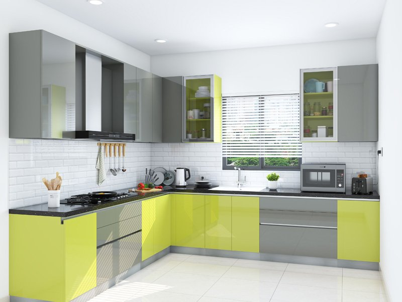 Citrus Mood L-Shaped Modular Kitchen India | HomeLane
