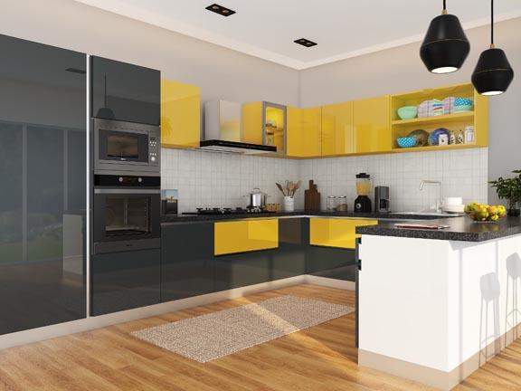 Bumble Bee U Shaped Modular Kitchen India Homelane