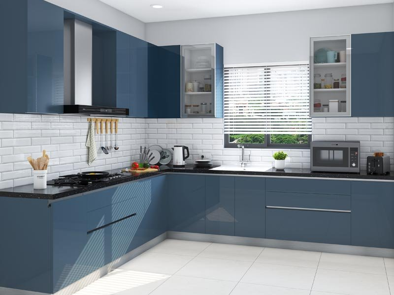 Classic Blue L-Shaped Modular Kitchen India | HomeLane