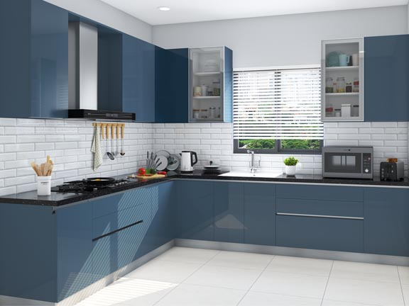 Classic Blue L Shaped Modular Kitchen India Homelane