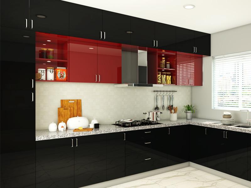 Dark Phoenix L Shaped Black And Wine Red Modular Kitchen India Homelane